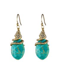 Alexis Bittar Blue Crystal Vine Capped Turquoise Earrings