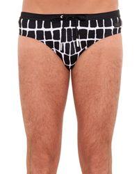 Fendi Black Abstract Square-Print Swim Shorts for men