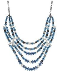 INC International Concepts | Hematite-tone Blue Multi-bead Frontal Necklace | Lyst