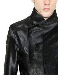 Tom Rebl Black Tailored Ponyskin Jacket for men