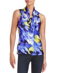 Nipon Boutique - Multicolor Patterned Tie Blouse - Lyst