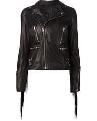 BLK DNM - Black Fringed Biker Jacket - Lyst
