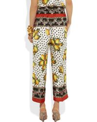 Dolce & Gabbana Red Printed Silk Cropped Wide-leg Pants