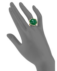 Mija - Dark Green Jade & White Sapphire Hexagon Cocktail Ring - Lyst