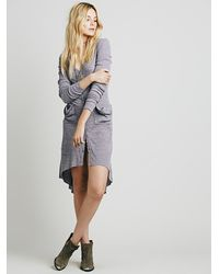 Free People | Purple Ribbed Up Maxi Cardigan | Lyst