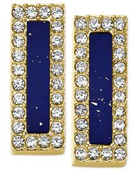 Michael Kors | Blue Gold-Tone Lapis Bar Stud Earrings | Lyst