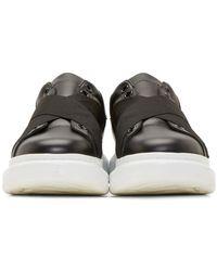 Alexander McQueen | Black Leather Elastic Sneakers | Lyst