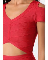 Bebe - Red Cold Shoulder Bandage Top - Lyst
