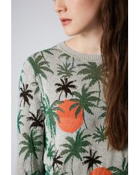 TOPSHOP Multicolor Palm Tree Lurex Sweater