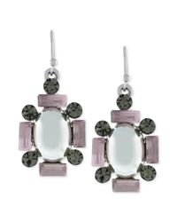 Jessica Simpson - White Silvertone Multistone Cluster Drop Earrings - Lyst