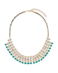 Mikey - Blue Multi Line Metal Crystal Choker - Lyst