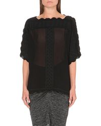 Étoile Isabel Marant | Black Axel Sheer Embroidered Blouse | Lyst