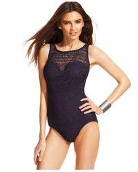 INC International Concepts - Blue Crochet Tummy-control One-piece Swimsuit - Lyst