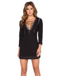 Twelfth Street Cynthia Vincent Black Lace Up Mini Dress