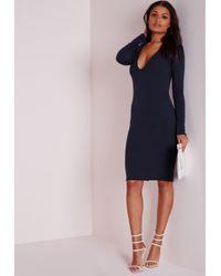 Missguided | Blue Ponte Long Sleeve Plunge Midi Dress Navy | Lyst