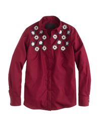 J.Crew - Red Collection Jeweled Geo Shirt - Lyst