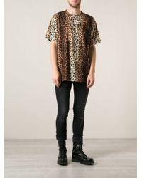 Moschino Brown Leopard Print T-Shirt for men