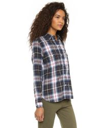 Sundry | Natural Flannel Plaid Shirt - Burgundy | Lyst