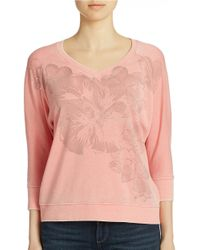 DKNY | Pink Floral Print Pullover | Lyst