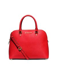 Michael Kors - Red Cindy Large Saffiano Leather Satchel - Lyst