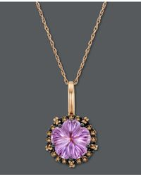 Le Vian | Purple Amethyst (3 Ct. T.W.) And White And Chocolate Diamond (1/3 Ct. T.W.) Oval Pendant In 14K Rose Gold | Lyst