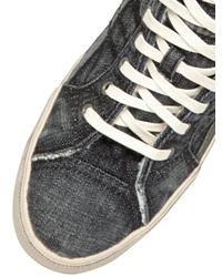 DIESEL - Black Denim High Top Sneakers - Lyst