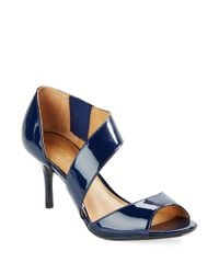 Calvin Klein | Blue Laine Patent Leather Sandals | Lyst