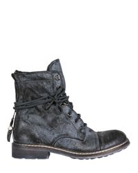 FRU.IT Black 30mm Coated Leather Lace Up Boots