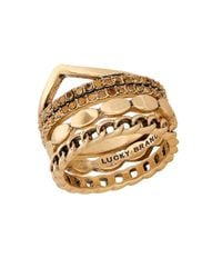 Lucky Brand - Metallic Pave Dream Goldtone Stack Ring - Lyst
