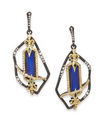 Armenta | Blue Old World Lapis, White Quartz, Diamond, Green Tourmaline, Oxidized Sterling Silver & 18k Yellow Gold Earrings | Lyst