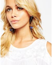 ASOS - Blue Marbled Bead Geo Chandelier Earrings - Lyst