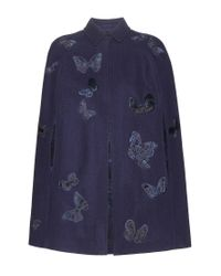 Valentino Blue Embroidered Wool Cape