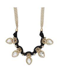 ABS By Allen Schwartz - Metallic Goldtone Black Cord and Teardrop Crystal Frontal Necklace - Lyst