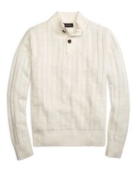 Brooks Brothers - White Ribbed Button Mockneck for Men - Lyst