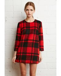 Forever 21 - Red Boxy Plaid Sweater Dress - Lyst