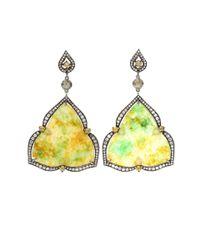 Bochic Yellow Trillian Cut Jade Earrings
