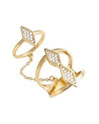 Rebecca Minkoff Metallic Crystal Double Chain Ring