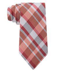Calvin Klein | Pink Silk Plaid Tie for Men | Lyst