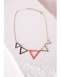 Missguided | Orange Triangle Detail Collar Necklace Neon Pink | Lyst