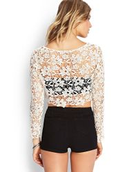 Forever 21 Natural Floral Crochet Crop Top You've Been Added To The Waitlist