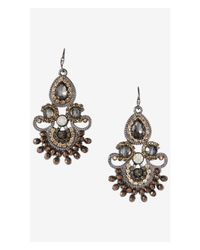 Express | Multicolor Ornate Rhinestone Dangle Earrings | Lyst