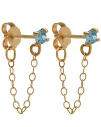 Melissa Joy Manning | Metallic Gold And Blue Topaz Chain Stud Earrings | Lyst