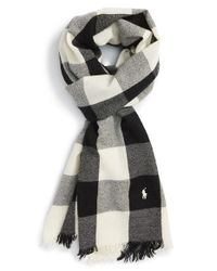 Polo Ralph Lauren - Black Buffalo Check Wool Scarf for Men - Lyst