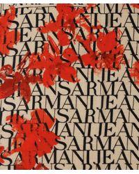 Armani Jeans Natural Floral Logo Long Scarf