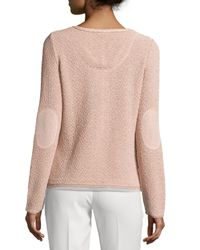 ESCADA - Pink Round-Neck Long-Sleeve Metallic Cardigan - Lyst