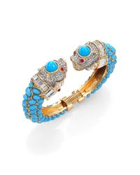 Kenneth Jay Lane | Blue Cabochon & PavÉ Animal Cuff Bracelet | Lyst