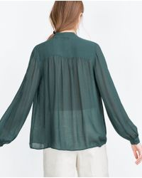 Zara | Green Bow Shirt | Lyst