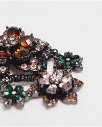 Zara | Metallic Flower Brooch | Lyst