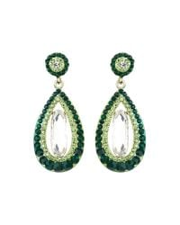 Mikey | Green Oval Design Multi Crystals Drop Earring | Lyst