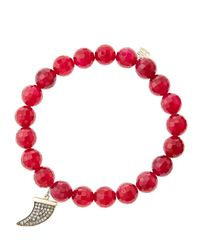 Sydney Evan | 8Mm Faceted Red Agate Beaded Bracelet With 14K Gold With Diamond Medium Horn Charm (Made To Order) | Lyst